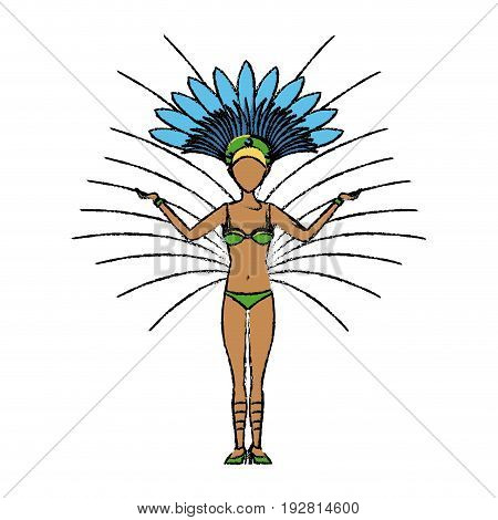 beautiful young samba dancer in stage costume vector illustration