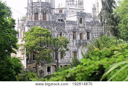 Impressive immortal Quinta da Regaleira in Sintra, Portugal.