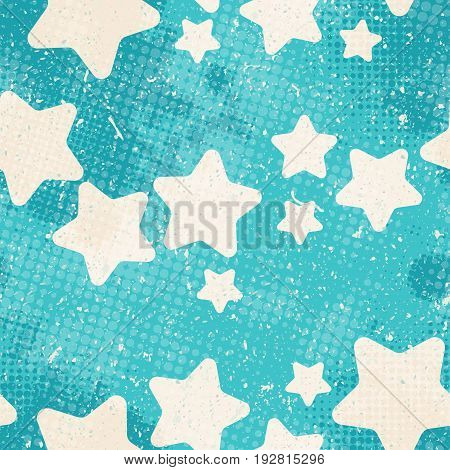 Vector vintage seamless pattern. Background with stars with halftone dits in grunge style ideal for textile design