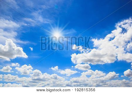 Beautiful sun with blue sky nature background.