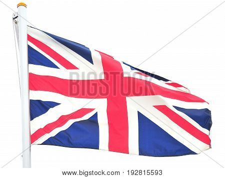 British flag flying high in the sky outdoors.
