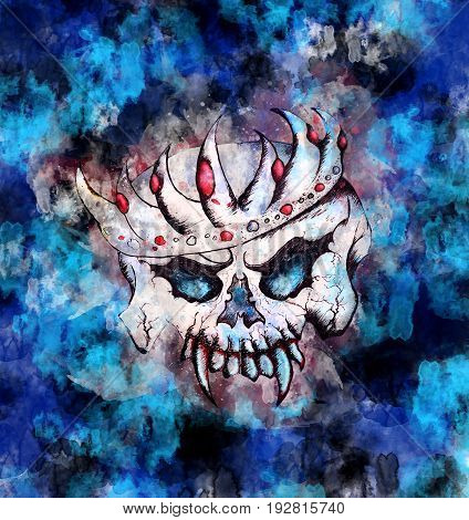 Skulls King - Halloween Greeting Card Blue Theme