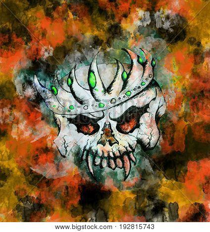 Orange Theme Skulls King - Halloween Greeting Card
