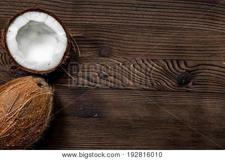 grated coconut for exotic food design on wooden table background top view mock-up