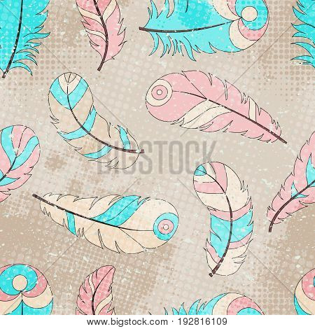Seamless tribal pattern with colored feathers in grunge style with scribbles and halftone dots boho style