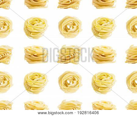 Seamless pattern. Egg pasta nest isolated on white background