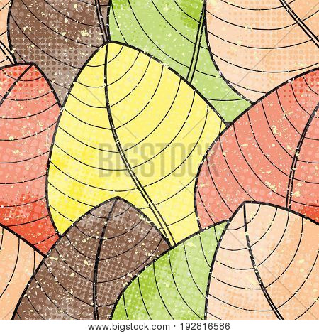 Vector vintage seamless pattern. Background with doodle autumn leaves with halftone dits in grunge style.