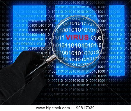 The virus in the magnifying glass on the background of the computer code and logo of FBI