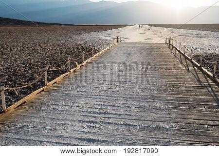 People Walking At Badwater Basin