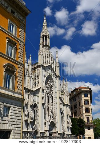 Church of the Sacred Heart of Jesus in Rome built in neogothic style in 1917