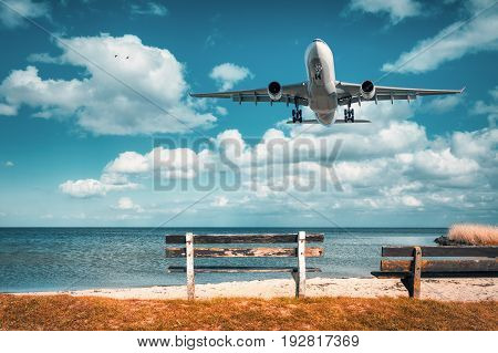 Beautiful Airplane And Wooden Bench At The Sea