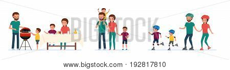 Set of family leisure. Bbq picnic, walk in amusement park, roller skating. White background. Vector illustration in a flat cartoon style