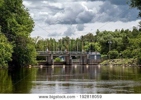 Maskinonge River Bridge dam Saint-Didace Quebec Canada