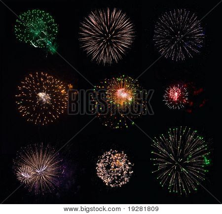 Collection #1 of 9 isolated fireworks on black background