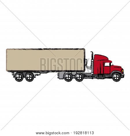 truck cabin container transport business vector illustration