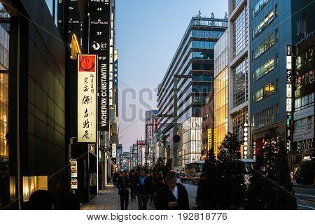 TOKYO, JAPAN - CIRCA JUNE 2017: Beautiful evening at Ginza avenue in Tokyo, Japan