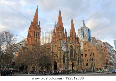 MELBOURNE AUSTRALIA - JUNE 14, 2017: Unidentified people visit St Pauls cathedral.
