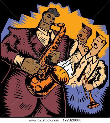 A highly stylized vector illustration of a jazz saxophone, a trumpet player, and a third musician performing in a jazz club.