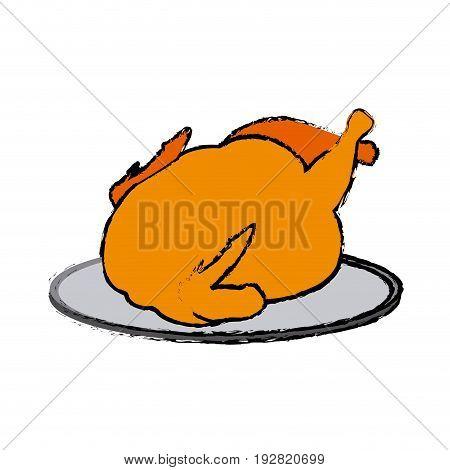 hot baked roasted chicken on plate vector illustration