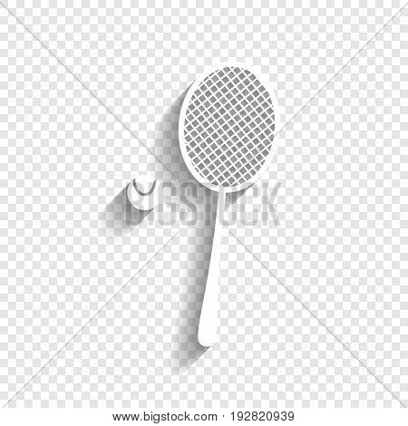 Tennis racquet with ball sign. Vector. White icon with soft shadow on transparent background.