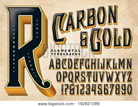 Carbon & Gold is a vintage style vector typeface with ornate elements and depth. This file includes all capitals, numerals, some punctuation, and design elements.