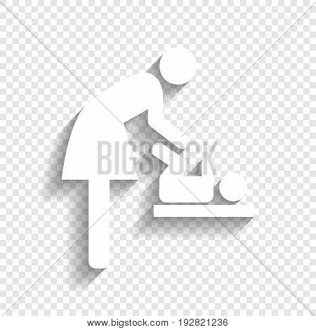 Women and baby symbol, baby changing. Vector. White icon with soft shadow on transparent background.