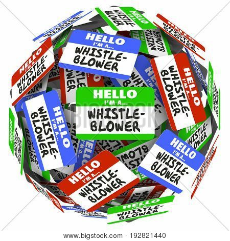 Whistle-Blower Name Tags Sphere Report Abuse 3d Illustration