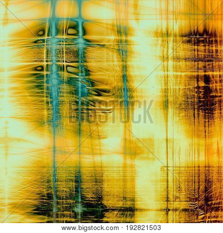 Colorful grunge texture or background with vintage style elements and different color patterns: yellow (beige); brown; blue; red (orange); white