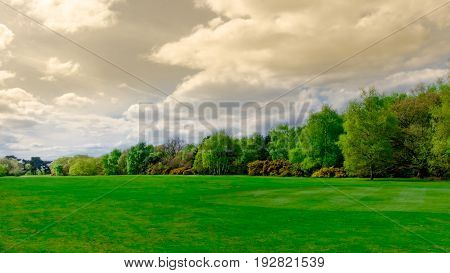 Cloudy day over Wimbledon Common in spring, England