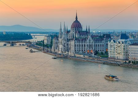 Budapest City Skyline And Hungalian Parliament When Sunset, Budapest, Hungary