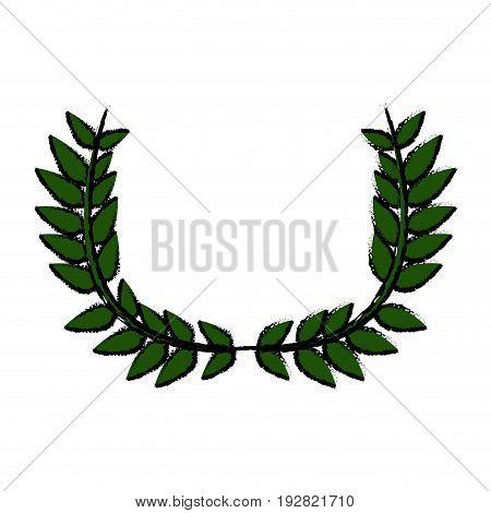 drawing crown half flower natural decoration laurel leaves vector illustration