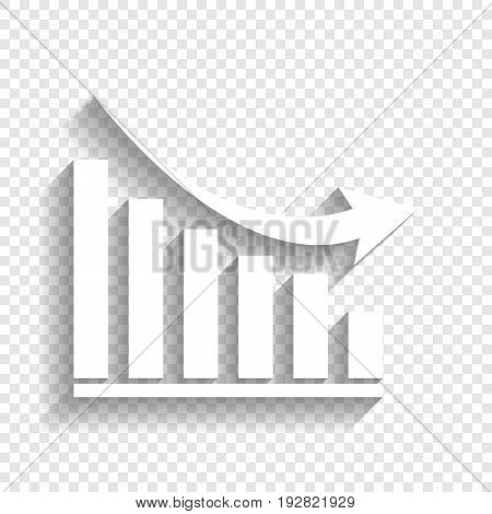 Declining graph sign. Vector. White icon with soft shadow on transparent background.