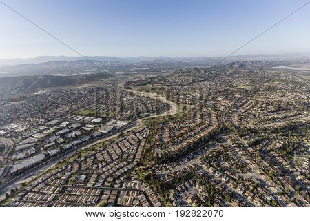 Aerial view of streets and homes in Camarillo, California.