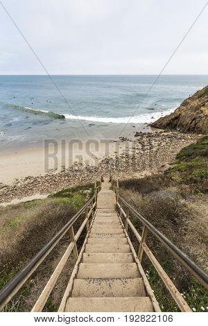 Old beach stairs at Dume Cove in Malibu, California.