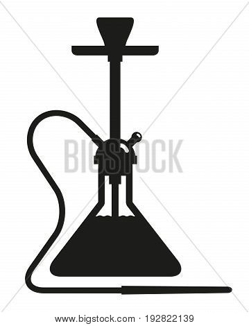 Hookah black icon on white background. Smoking accessory. Vector design element