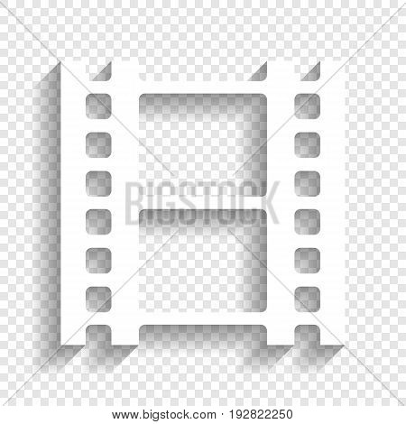 Reel of film sign. Vector. White icon with soft shadow on transparent background.