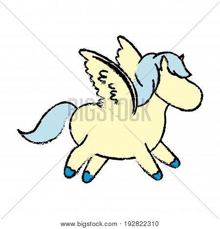 cute cartoon little funny running horse beautiful pony vector illustration
