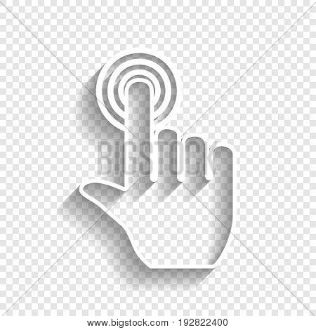 Hand click on button. Vector. White icon with soft shadow on transparent background.
