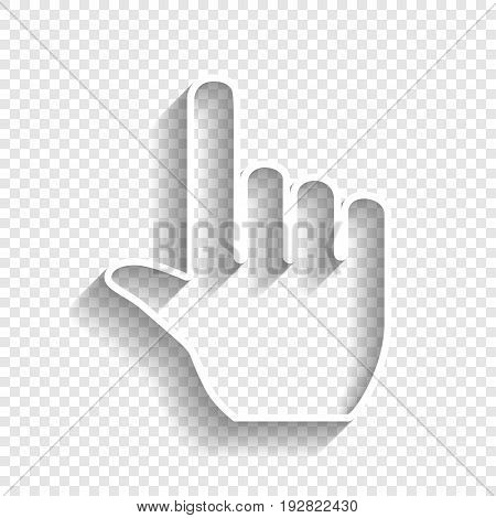 Hand sign illustration. Vector. White icon with soft shadow on transparent background.