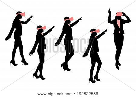 silhouette of businesswoman wear vr and show something