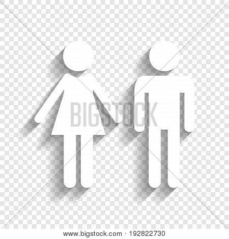 Male and female sign. Vector. White icon with soft shadow on transparent background.