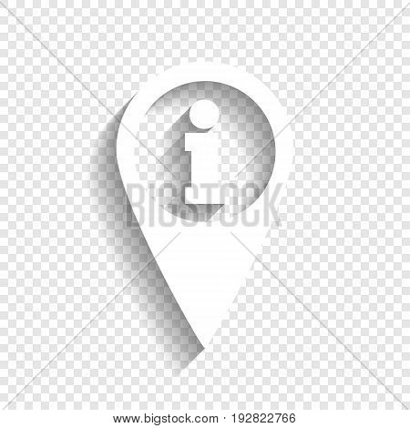 Map pointer with information sign. Vector. White icon with soft shadow on transparent background.