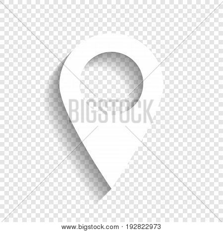 Mark pointer sign. Vector. White icon with soft shadow on transparent background.