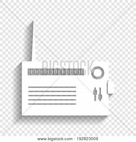 Radio sign illustration. Vector. White icon with soft shadow on transparent background.