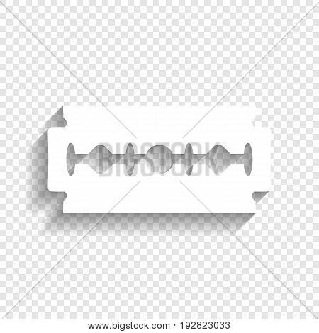 Razor blade sign. Vector. White icon with soft shadow on transparent background.