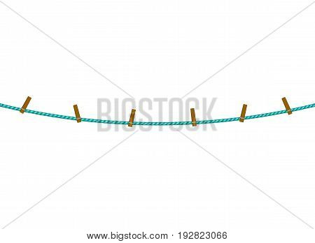 Clothespins on rope in turquoise design on white background