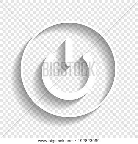 On Off switch sign. Vector. White icon with soft shadow on transparent background.