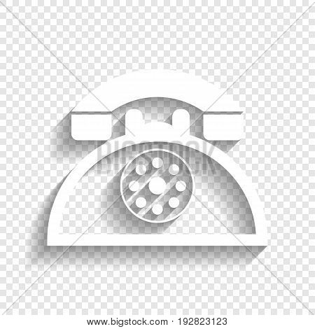 Retro telephone sign. Vector. White icon with soft shadow on transparent background.