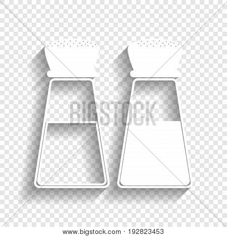 Salt and pepper sign. Vector. White icon with soft shadow on transparent background.