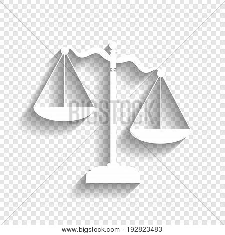 Scales of Justice sign. Vector. White icon with soft shadow on transparent background.